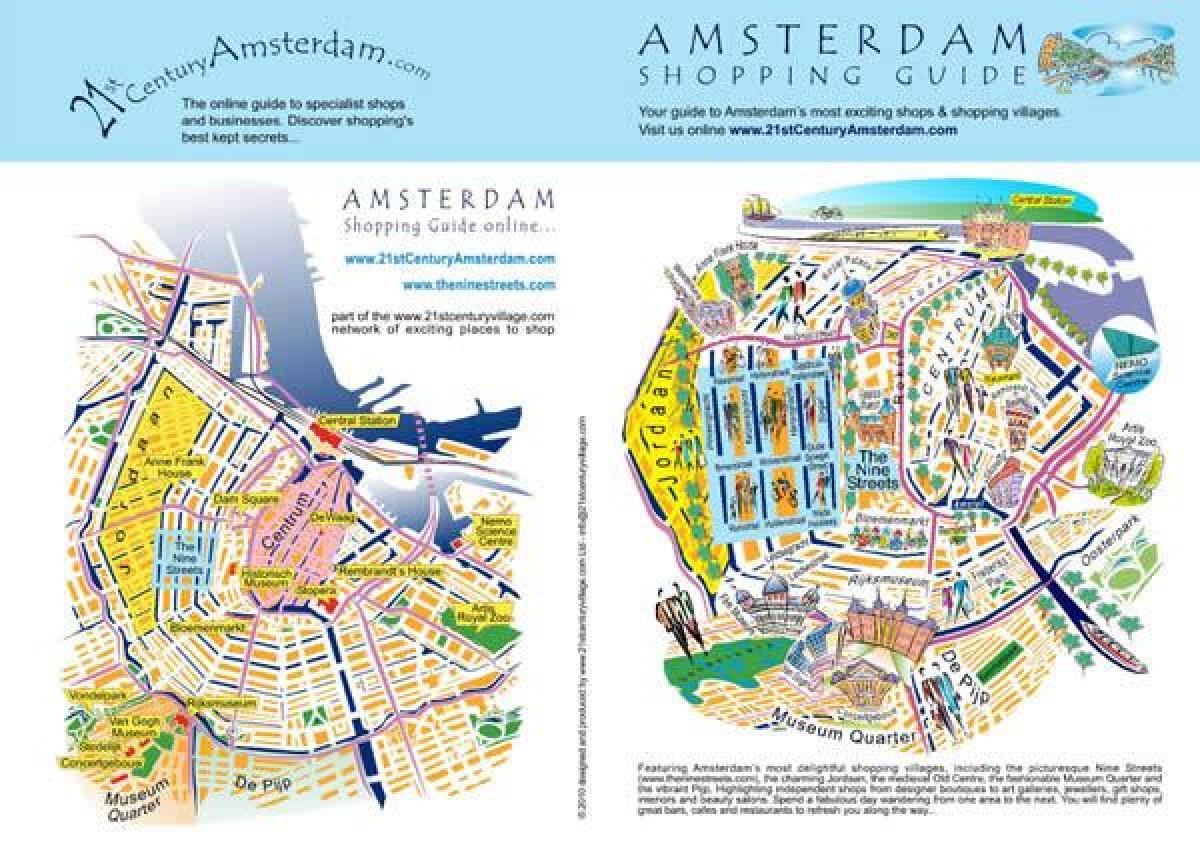 Amsterdam Shopping Karta Amsterdam Shopping Street Map